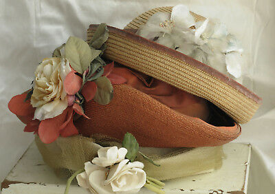 3 Vintage Women's Straw Hats With Flowers