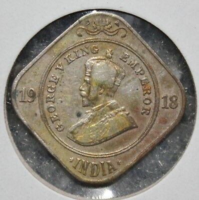 India 1918 - 2 Annas - KM# 516 - Copper-Nickel coin - Circulated - King George V