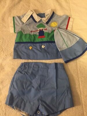 """Vintage """"Baby Togs Creation"""" 3-piece Boys Outfit With Tags"""