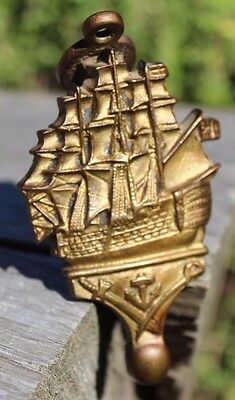 Vintage Brass cast Ship Door Knocker Nautical Decorative boat Small England
