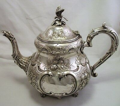 Large Victorian Silver Plated Louis Tea Pot Walker & Hall 1870