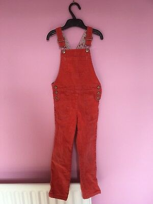 Girls Mini Boden coral cord dungarees age 5-6 years