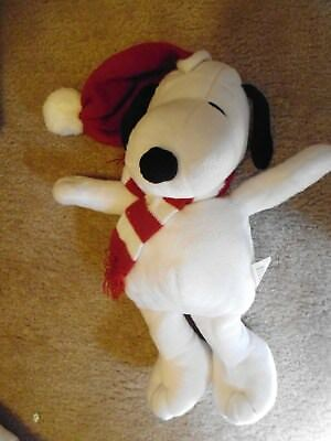 "14"" Plush Christmas Snoopy with Knitted Cap and Scarf Peanuts"