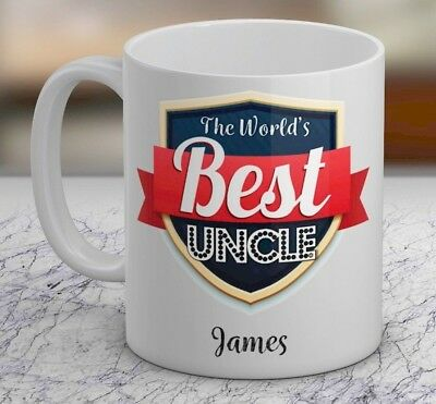 The Worlds Best Uncle Personalised Gift Mug Add Name Family Text Cup Design New
