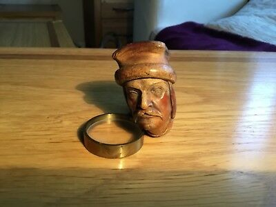 Vintage Carved Wood Head Smoking Pipe Aged Antique