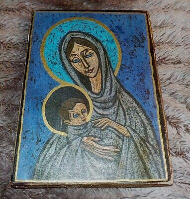 """Vintage religious wood madonna & child icon plaque, 4 1/4"""" x 6"""", ca 40-years-old"""