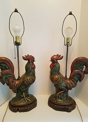 Pair of Gorgeous Antique Vintage Ceramic Porcelain Rooster Lamps Country French