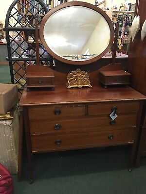An Antique Edwardian Solid Mahogany Dressing Table