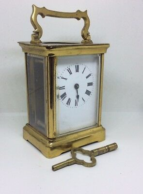 Fantastic Rare Antique Brass Carriage Clock And Key