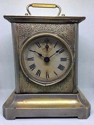 Rare Antique Brass JUNGHANS Multi Dial Musical Striking Carriage Clock And Key
