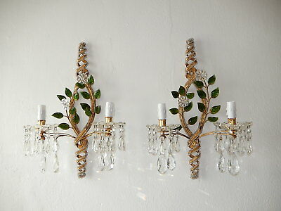 ~c 1930 French Maison Bagues Style Beaded Floral Green Leaves Sconces Gorgeous!~