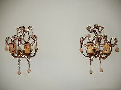 ~c 1920 French PINK OPALINE  Drops & Swags of Beads Murano Sconces~