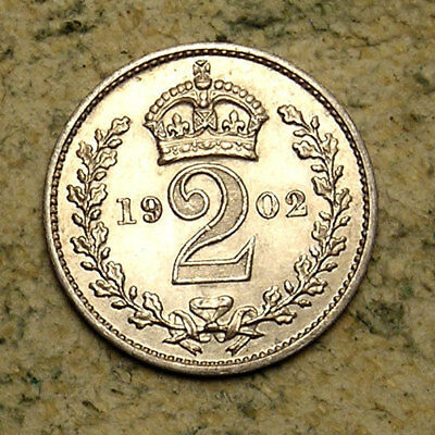 Great Britain: 1902 King Edward VII Silver Maundy Two Pence (2d)