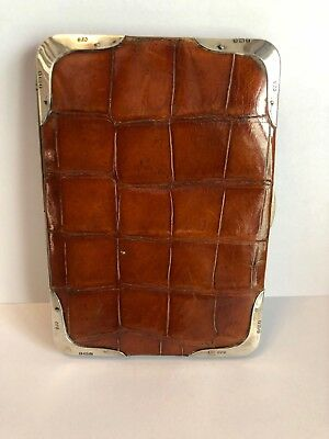 Antique Light Brown Crocodile Leather Wallet with Sterling Silver Accents