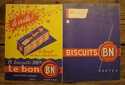 Ancien protège cahier publicitaire biscuits BN biscuiterie nantaise Nantes