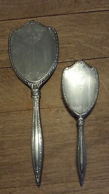 Antique Sterling Silver Brush & Mirror International Sterling Rare Large Mirror