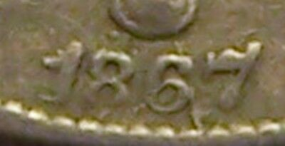 VG/F 1867/18 Shield Nickel, Repunched Date! Discovery Coin? Not In References!