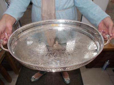 Large Silver Plated Gallery Tray Ornate Clam Shell Handles On Bun Feet