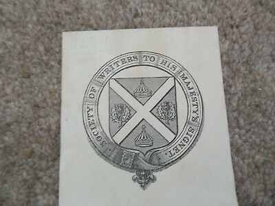 Book plate Society of Writers to His Majesty's Signet 1902