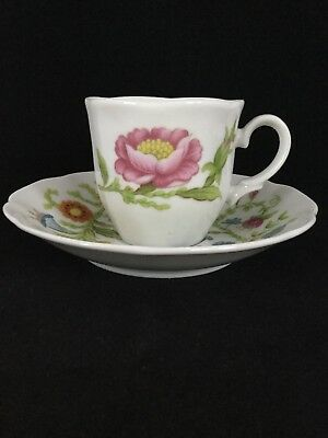 Vintage Monticello Floral  Demitasse Cup And Saucer Set - Perfect!
