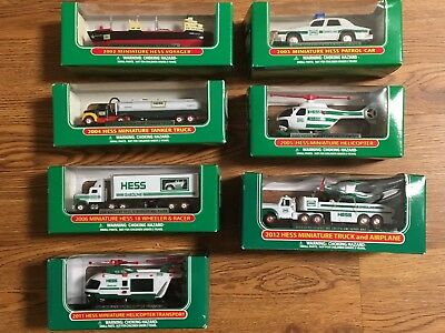 HESS TRUCKS MINIATURES LOT OF 7 Voyager Helicopter Racer 2002-2006 2011 2012