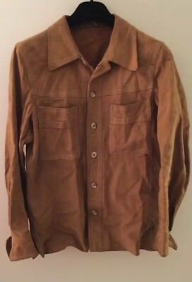 Vintage Suede Shirt Jacket 70s 80s tan leather western