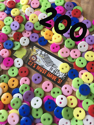 ✿ UK Stock 200 9mm Resin Buttons Two Holes Craft Sewing Jewellery Scrapbooking