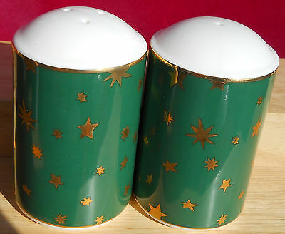 Sakura Galaxy Green Salt Pepper Shakers Set Stars Holiday Christmas