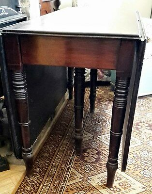 ANTIQUE GEORGIAN 3rd EXTENDABLE DINING TABLE SOLID MAHOGANY DROP-LEAF GATE-LEG