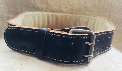 Mens Leather Gym Weight Lifting Belt with Padded Back