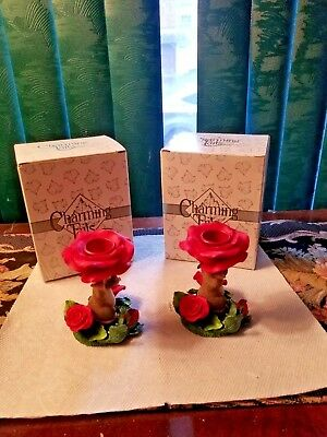 Charming Tails by Fitz and Floyd - Pair of Rose/Floral Candle Sticks w/Maxine