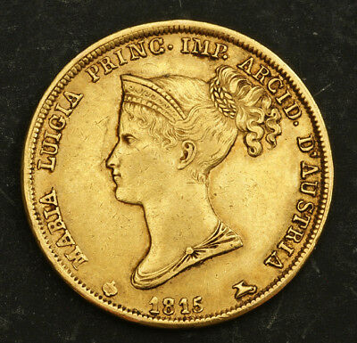 1815, Parma, Marie Louise of Austria. Beautiful Gold 40 Lire Coin. 12.88gm!
