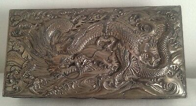 Vintage silver plate chinese dragon box