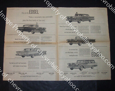 """1958 EDSEL Intro 21x30"""" TWO PAGE NEWSPAPER AD and 1957 Cadillac Ad on Back FORD"""