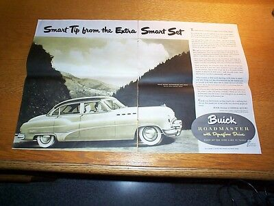 Vintage 1950 Two-Page Print Ad For Buick Roadmaster Car With Dynaflow Drive