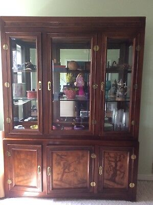Dining Room set: 6 chairs, rectangular table Mahogany Oriental etching, China ca