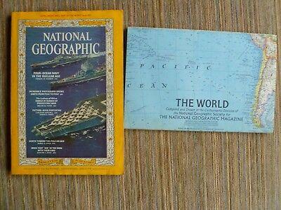 National Geographic February 1965 INCLUDING Map of the World Iconic Coca Cola Ad