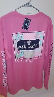 NWT Simply Southern Long Sleeve T Shirt Women's Patchwork Live Love L Large Pink