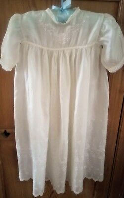 Beautiful antique/vintage ivory fine silk christening gown/baby dress