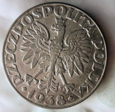 1938 POLAND 50 GROSZY - Uncommon Date - High Quality Coin - Lot #A15