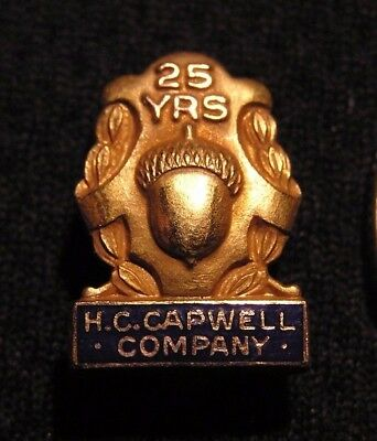 Vintage H.c. Capwell Company 10K Gf 25 Yr Employee Service Award Pin  Oakland Ca