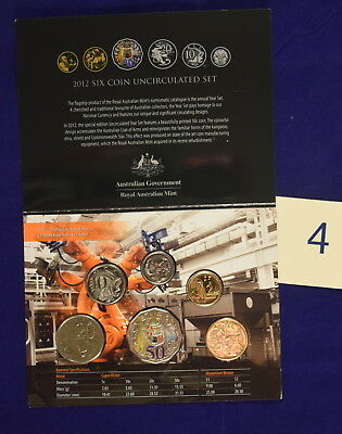 Royal Australian Mint 2012 6 coin uncirculated Year Set color printed 50c coin