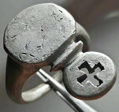 Silver Byzantine Roman Key Ring ** With Cross  **