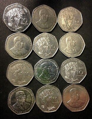 Old MAURITIUS Coin Lot - 12 Great Scarce Coins - 10 Rupees - Lot #A15