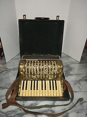 Vintage Troubadour Accordion 25 Key 12 Bass W/ Box - Made In Germany - Works!