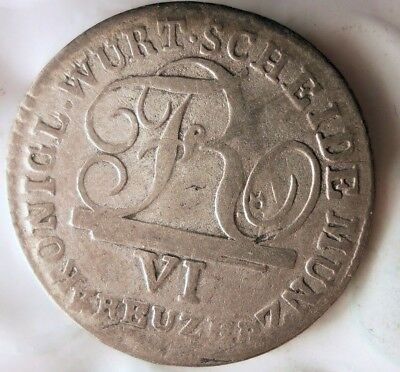 1808 GERMAN STATES (WURTTENBURG) 6 KREUZER - VERY Rare Silver Coin - Lot #A15
