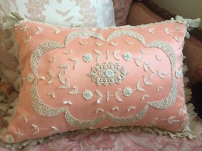 Antique Princess Lace Pillow With Coral Satin Insert 18x12 Inches