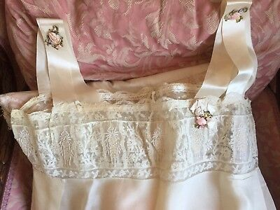 Antique Ecru Silk Chiffon French Lace Nightgown W Silk Ribbon Work Details Roses