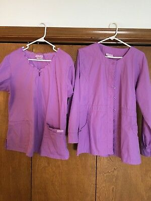 Scrub top and jacket size large purple butter soft
