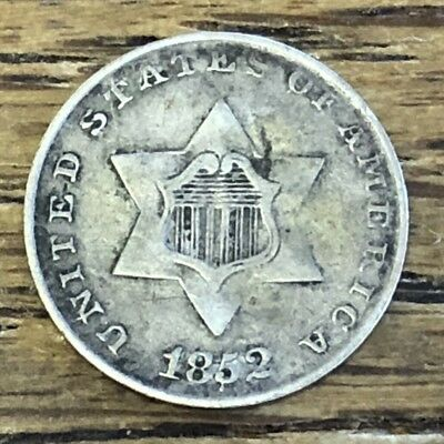 1852 3c THREE CENT SILVER VF-XF SUPERB Original Patina VERY HISTORIC *FREE S/H!*